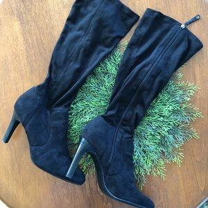 Vegan Suede Over calf boots.